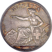 2 Francs (Helvetia seated; 90% silver) -  obverse