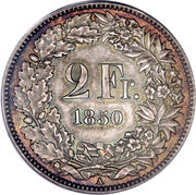 2 Francs (Helvetia seated; 90% silver) -  reverse