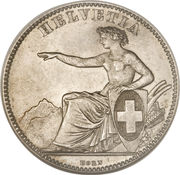 2 Francs (Helvetia seated; 80% silver) – obverse