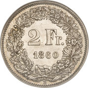 2 Francs (Helvetia seated; 80% silver) – reverse