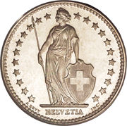 2 Francs (Helvetia standing; silver) -  obverse
