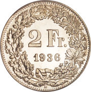 2 Francs (Helvetia standing; silver) -  reverse