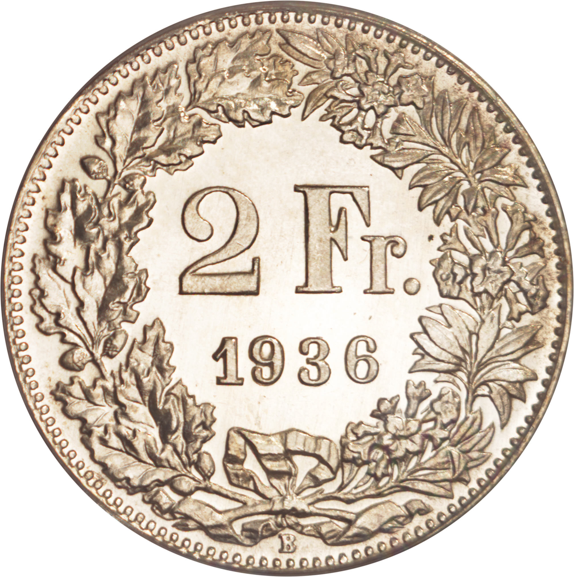 1959 B Switzerland 2 Francs Average Circulated Helvetia Silver Coin