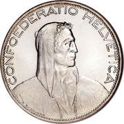 5 Francs (Herdsman; silver; large type; 5 FR.) -  obverse