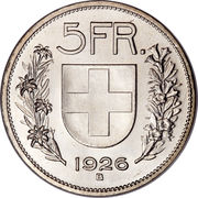 5 Francs (Herdsman; silver; large type; 5 FR.) -  reverse