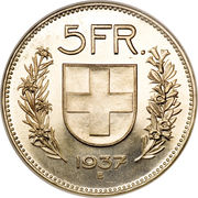 5 Francs (Silver issue; small) -  reverse