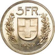 5 Francs (herdsman; silver; small type) -  reverse