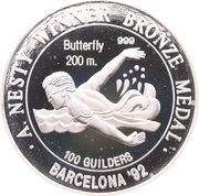 100 Guilders (Anthony Nest - 200m; Silver Proof issue) – reverse