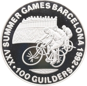100 Guilders (Olympic Games 1992 - Cycling, with 999) – reverse