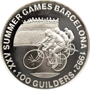 100 Guilders (Olympic Games 1992 - Cycling, without 999) – reverse