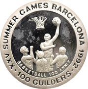 100 Guilders (Olympic Games 1992 - Basketball, without 999) – reverse