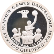 100 Guilders (Olympic Games 1992  -Basketball, with 999) – reverse