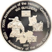 100 Guilders (700th Anniversary Helvetic Confederation / 125th Anniversary Red Cross) – reverse