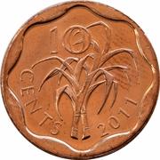 10 Cents - Mswati III (2nd portrait) – reverse