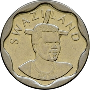 20 Cents - Mswati III (2nd portrait, small type) – obverse
