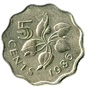 5 Cents - Mswati III (1st portrait) – reverse