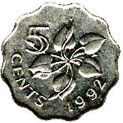 5 Cents - Mswati III (1st portrait, magnetic) – reverse