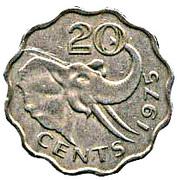 20 Cents - Sobhuza II -  reverse