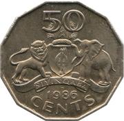 50 Cents - Mswati III (1st portrait) – reverse