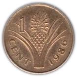1 Cent - Mswati III (1st portrait) – reverse