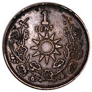 1 Fen / 1 Cent (Counterfeit) – reverse