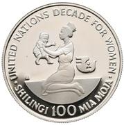 100 Shilingi (Décennie de la Femme - ONU) – reverse