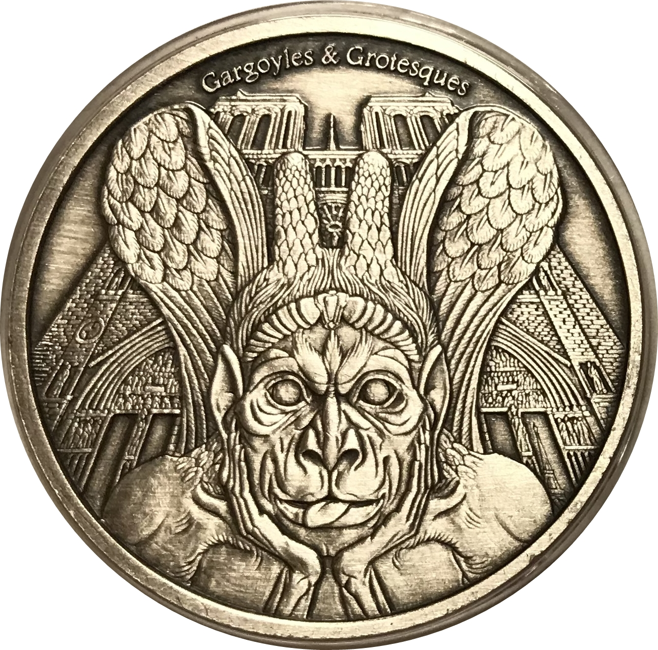 Gargoyles The Spitter 2017 Chad 1000 Francs 1 Oz Pure Silver Proof Coin Perfect