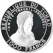 1000 Francs (Balearica pavonina) -  obverse