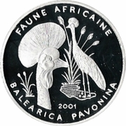 1000 Francs (Balearica pavonina) -  reverse