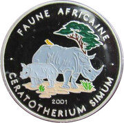 1000 Francs  (Ceratotherium (rhinoceros) colourized) – obverse