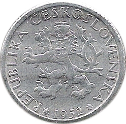 Czechoslovakia 1 Korun 1952 Brilliant Uncirculated Aluminum Coin