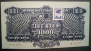 "1,000 Korun (Provisional ""Adhesive stamp"" issue) – obverse"