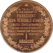 Token - In tribute to the memory of President J.F. Kennedy – reverse