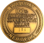 Token - Centennial Waverly, Nebraska – reverse