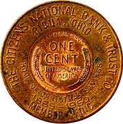 Encased Token - Citizens National Bank (Piqua, Ohio) – reverse
