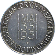Medallion - 600 Year Canton of Zürich joining of Swiss Confederation – obverse