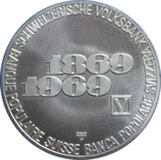 Medallion - 100 Year anniversary of the Swiss National Bank – obverse