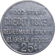 25 Cents - Food Stamp Credit Token (Grand Union; Elmwood Park, NJ) – reverse