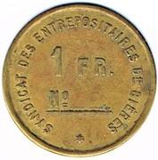 1 Franc - Syndicat des entrepositaires de bières Louis Braun (Bischwiller) – reverse