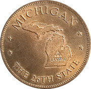 Token - Shell's States of the Union Coin Game, Version 1 - Bronze Collector's Coin Set (Michigan) – obverse