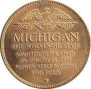 Token - Shell's States of the Union Coin Game, Version 1 - Bronze Collector's Coin Set (Michigan) – reverse