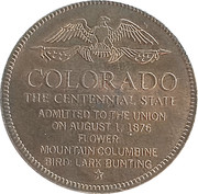 Token - Shell's States of the Union Coin Game, Version 1 - Bronze Collector's Coin Set (Colorado) – reverse