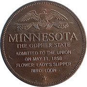 Token - Shell's States of the Union Coin Game, Version 1 - Bronze Collector's Coin Set (Minnesota) – reverse