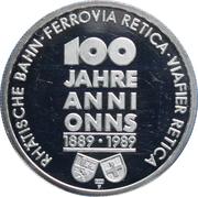 Token - 100 Year anniversary of the Rhätische Bahn Railway – reverse