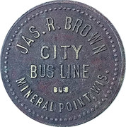 1 Ride - City Bus Line (Mineral Point, Wisconsin) – obverse