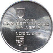 Medallion - Completion of the San Bernardino Tunnel – reverse