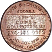 Token - Lee's Coins & Collectables (Orange, California) – reverse