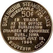 50 Cents - Burlington Steamboat Days ( Burlington,  Iowa) – reverse