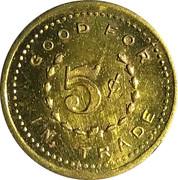 5 Cents - W. H. Korns – reverse