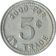 5 Cents - Brunswick Billiard Parlor – reverse